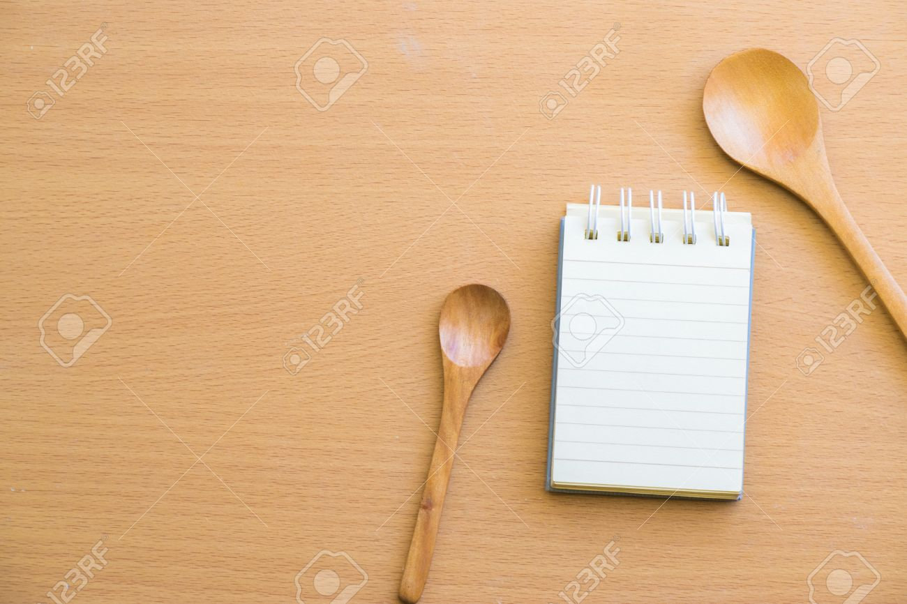 Notepad With Spoon On Wood Wood BackgroundUsing Wallpaper For 1300x866