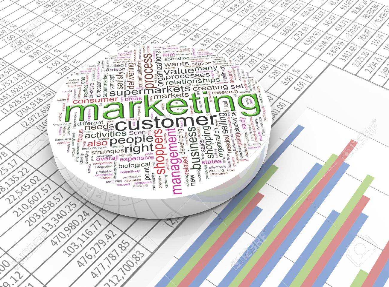 3d Marketing Wordcloud On The Background Spreadsheet Stock Photo 1300x962