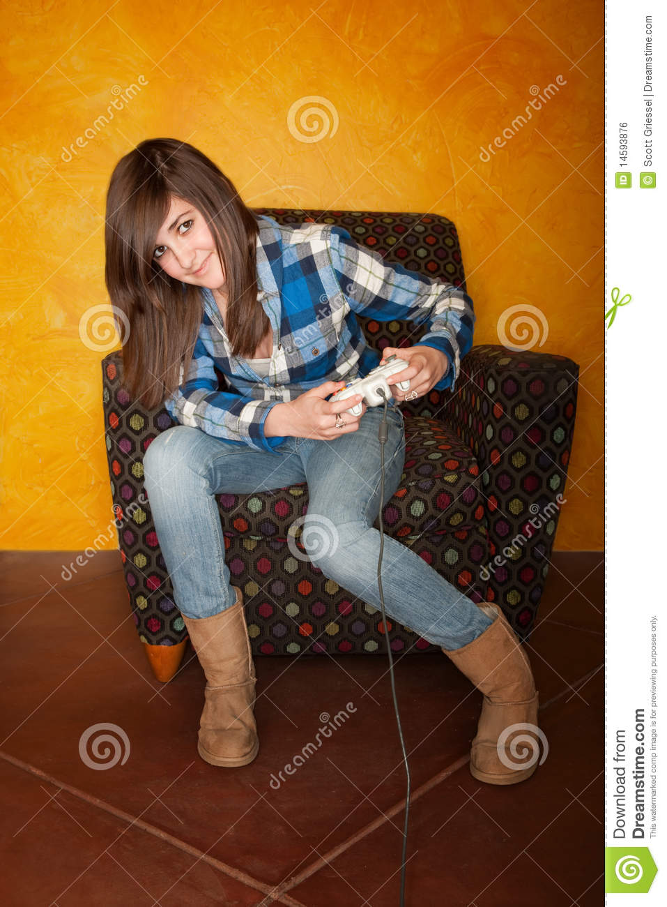 Cute Girl Playing Video Game Royalty Stock Image Image 957x1300