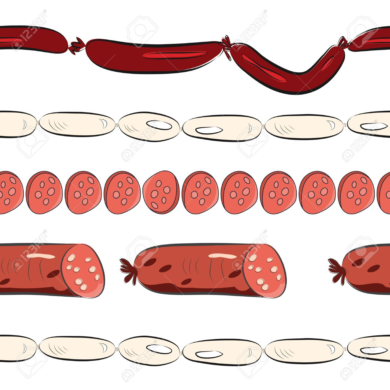 Seamless Wallpaper With Sausages Royalty Cliparts Vectors 1300x1300