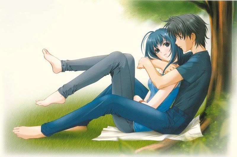 Cute Love Anime Boy And Girl Hugging