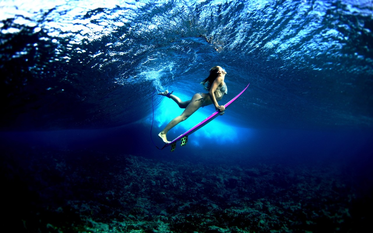 Surf Board under the Water widescreen wallpaper Wide WallpapersNET 1280x800