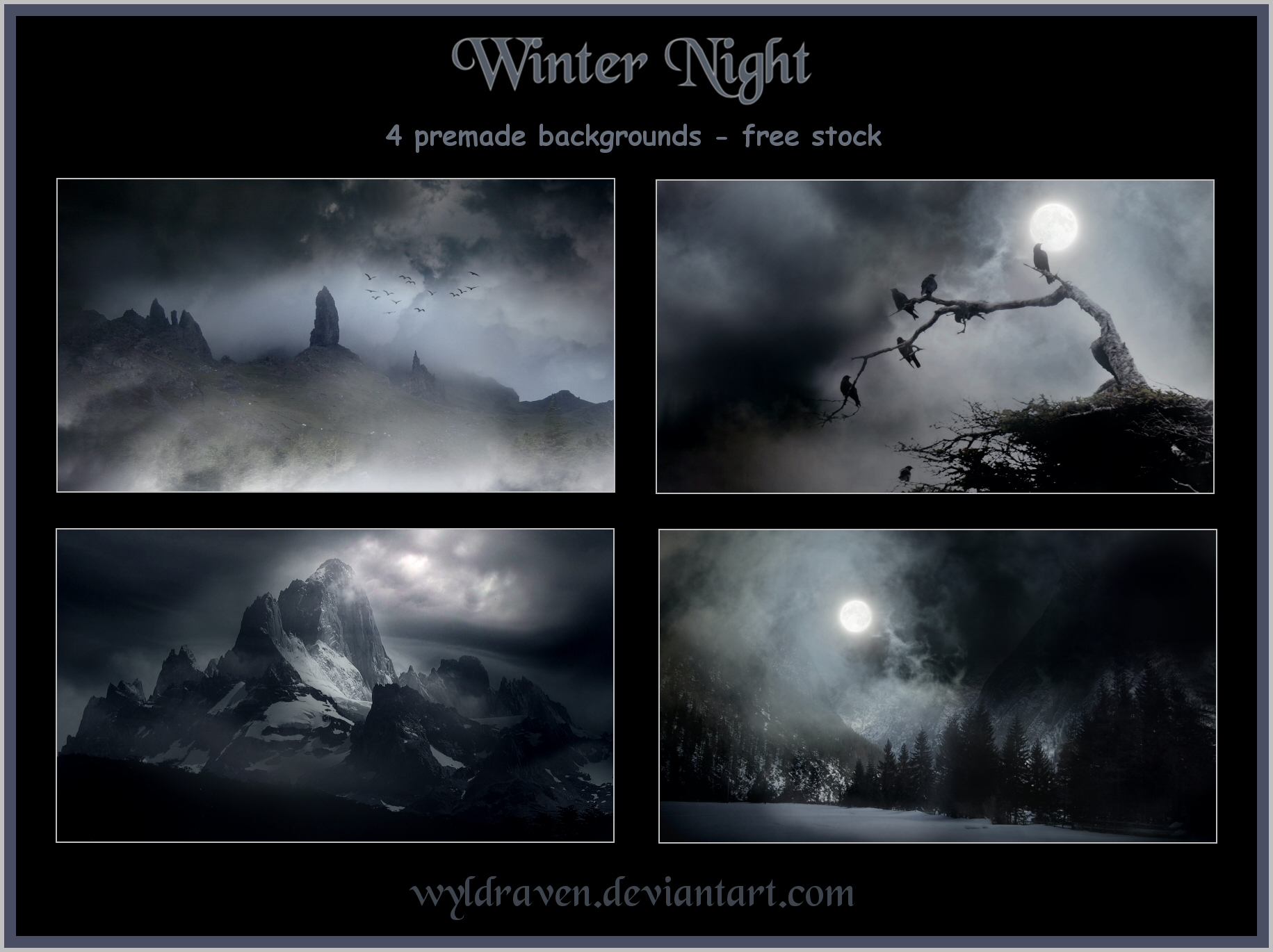 Winter Night backgrounds by wyldraven 1831x1370