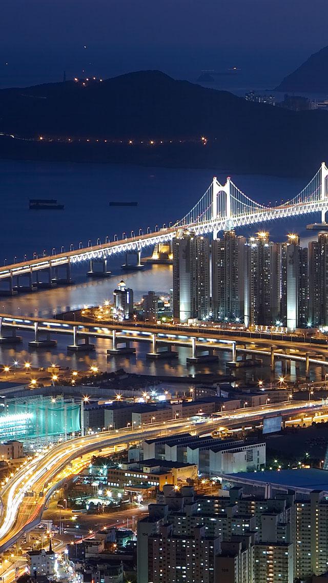 Gwangan Bridge busan south korea iPhone se Wallpaper Download 640x1136