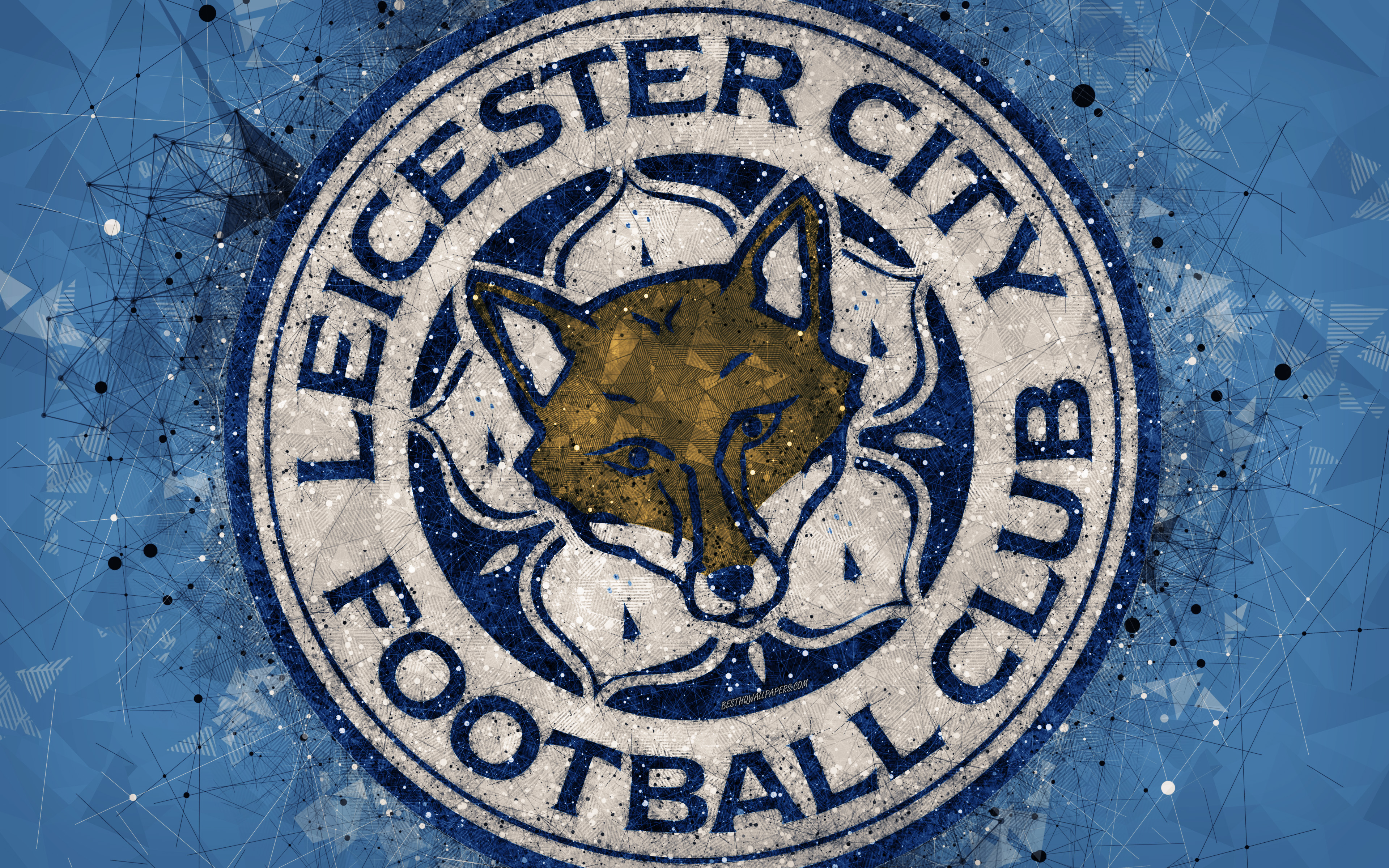 Download wallpapers Leicester City FC 4k logo geometric art 3840x2400