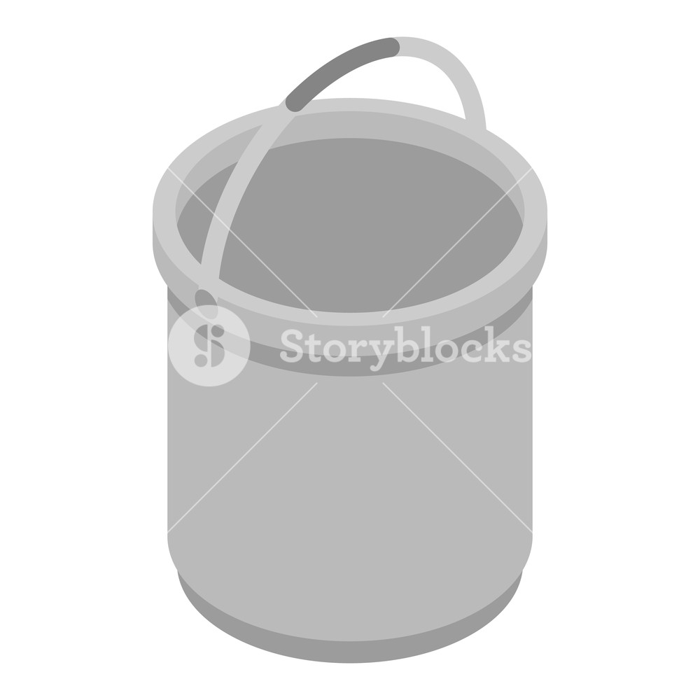 Metal bucket icon Isometric of metal bucket vector icon for web 1000x1000