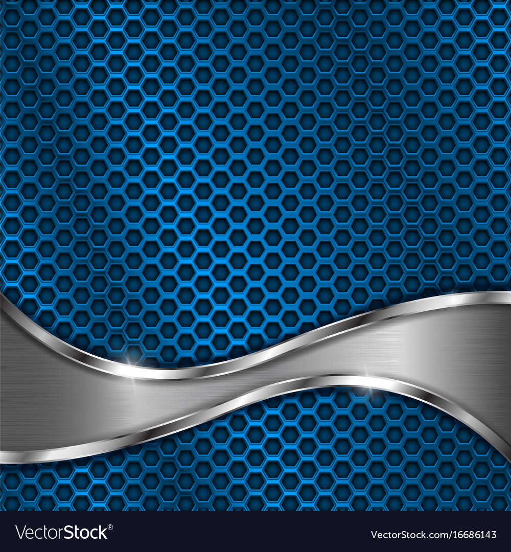 Blue metal perforated background with steel wave Vector Image 1000x1080