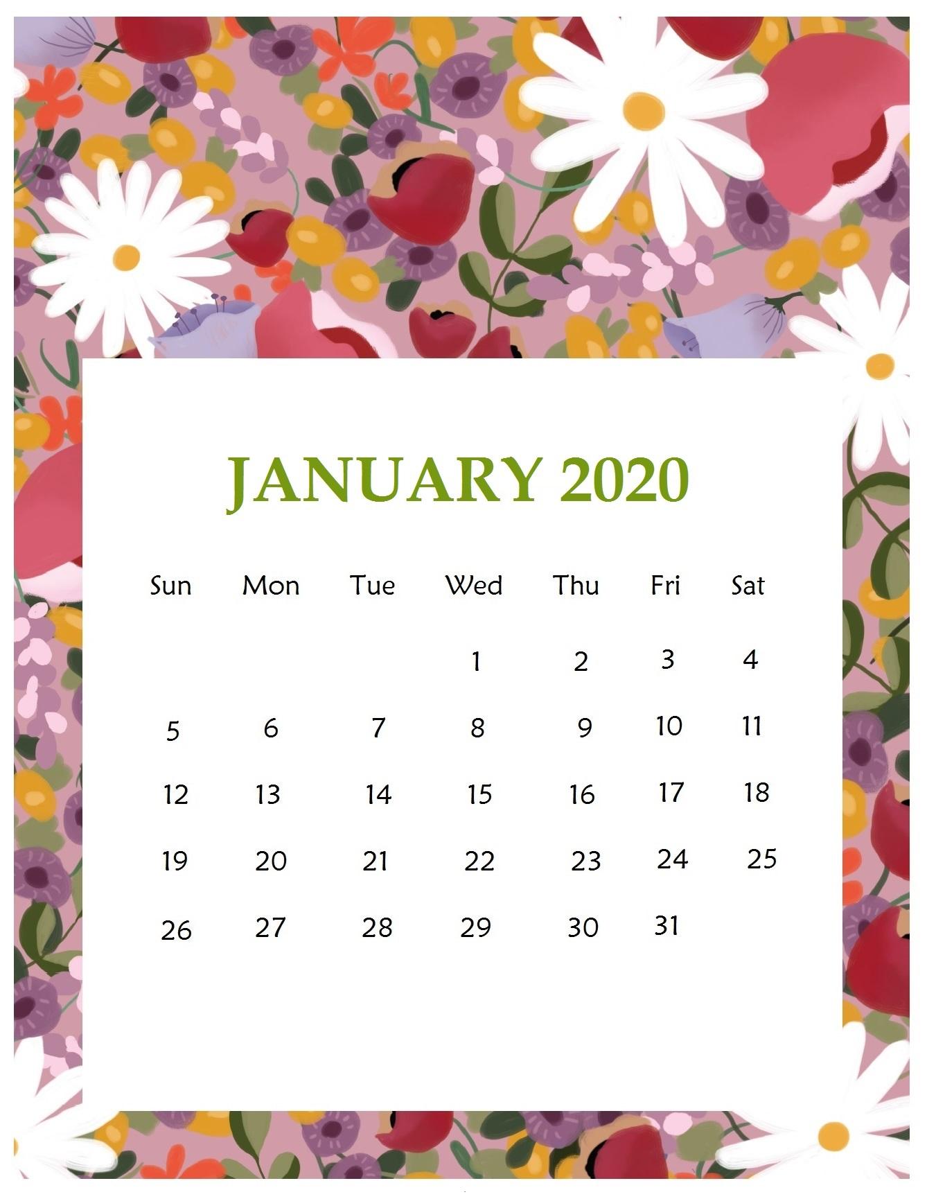Best January 2020 Calendar Designs Latest Calendar 1338x1730