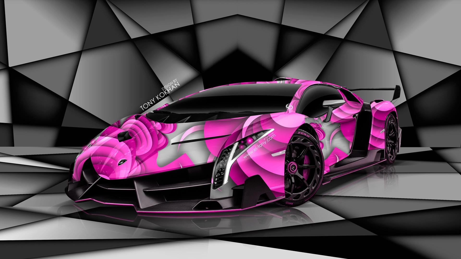 lamborghini veneno super aerography car 2014 pink colors