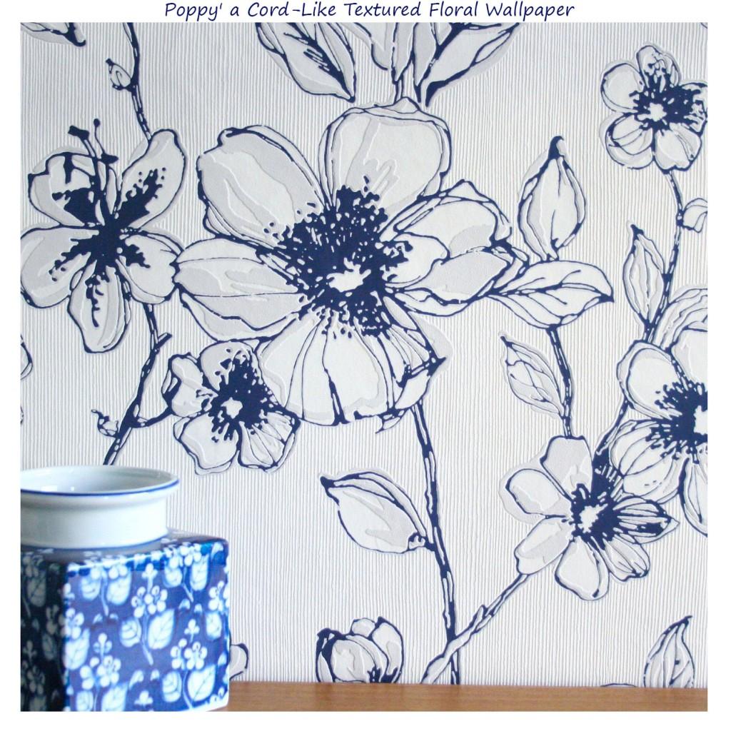 blue and white poppy wallpaper 1024x1024