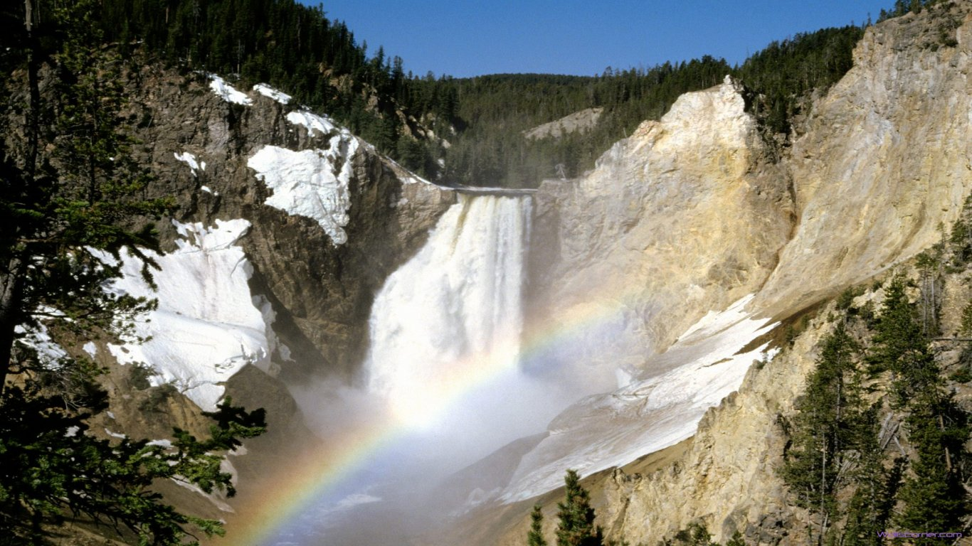 lower falls yellowstone national park wyoming Wallpapers 1366x768 2014 1366x768