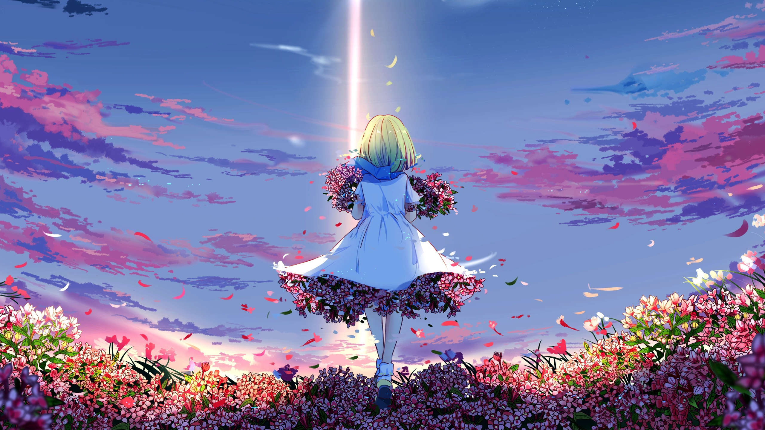 Download Anime girl spring flowers girly outdoor wallpaper 2560x1440