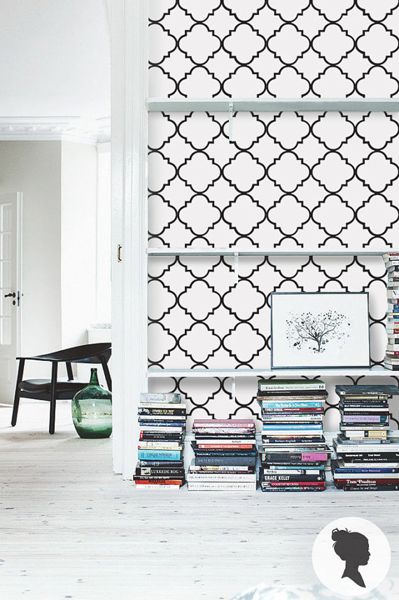 Peel and Stick Quatrefoil Pattern Removable Wallpaper by Livettes 570x856