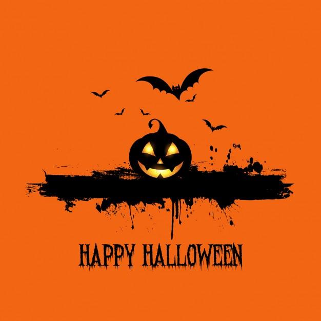 Fondo naranja con una calabaza para halloween Descargar 626x626