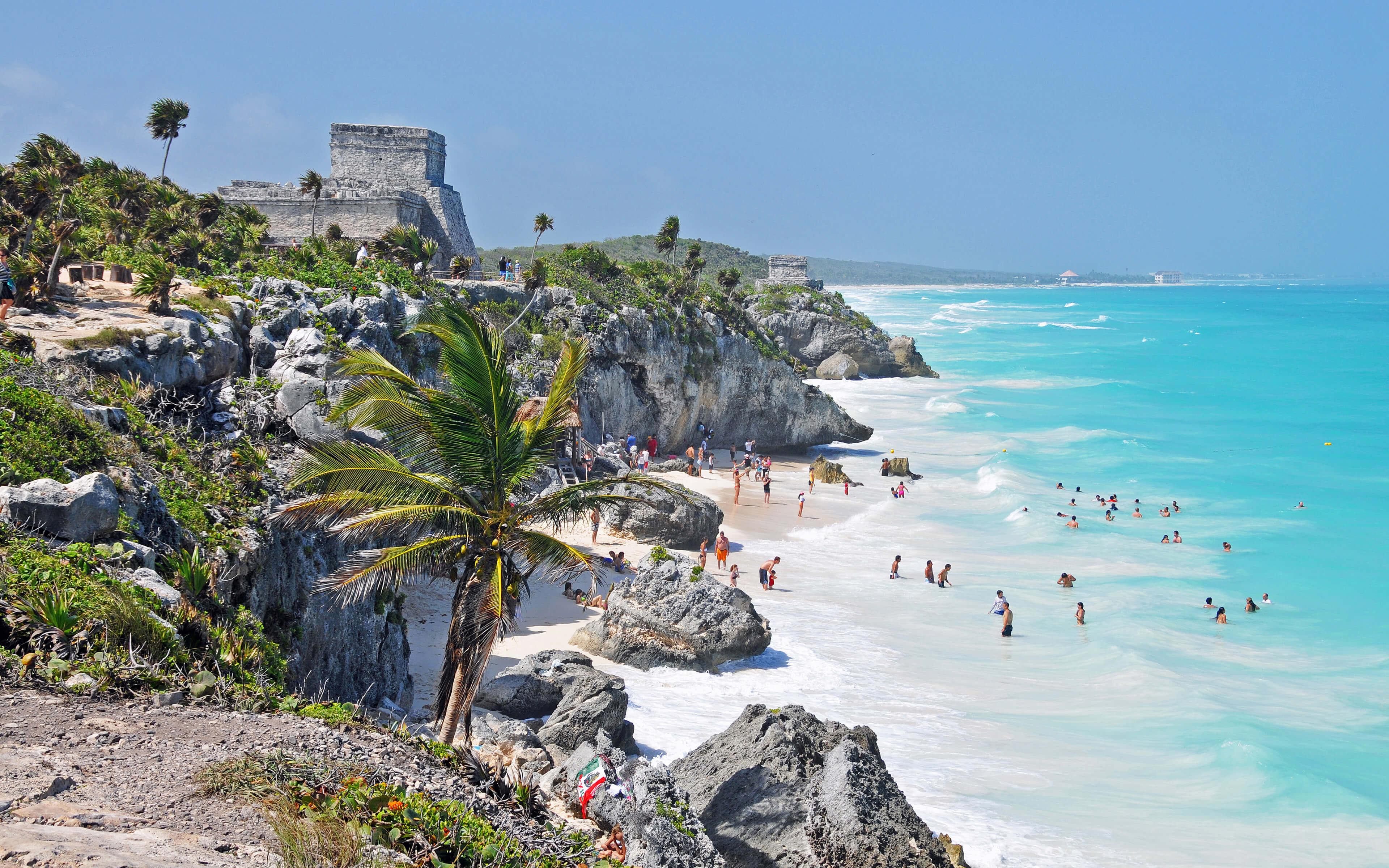 Beach Near El Castillo Tulum Riviera Maya Mexico Wallpaper 3840x2400