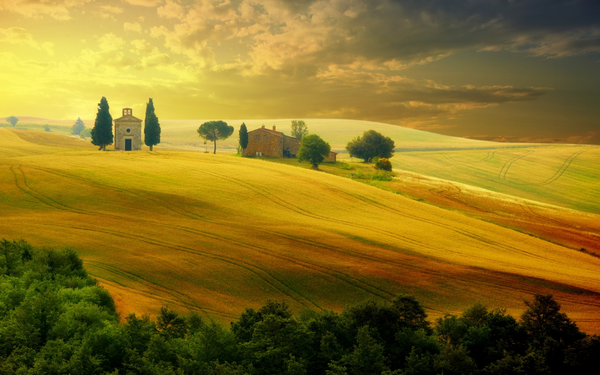 Landscape In Tuscany At Sunset In Summer Wallpapers   1920x1200 1920x1200