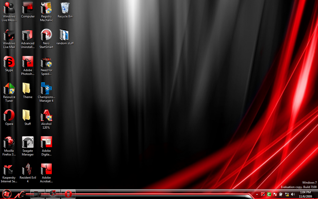 Windows 7 Professional Red Wallpaper 1280x800