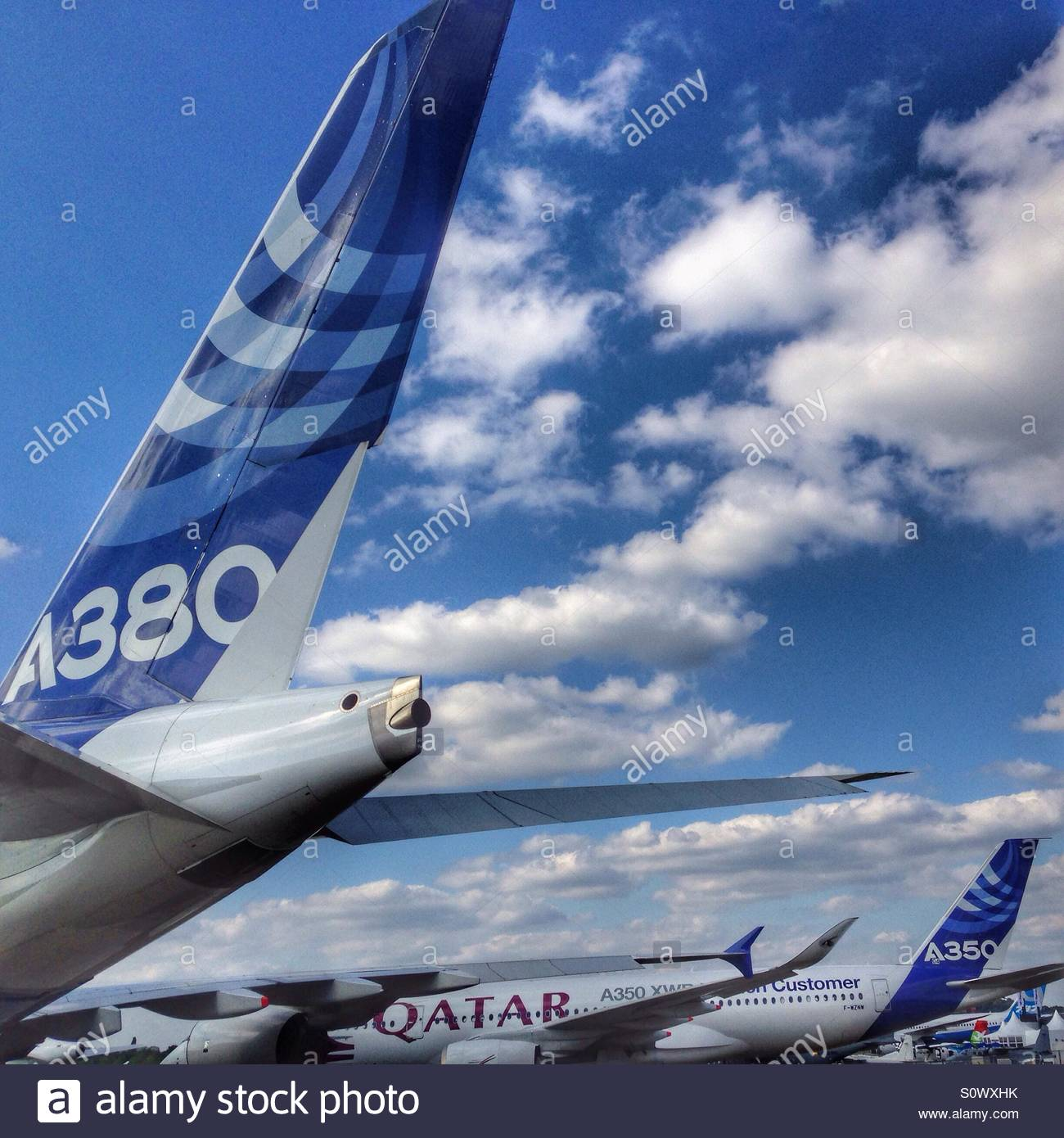 Airbus A380 airliner with the first Airbus A350 for Qatar airways 1300x1390
