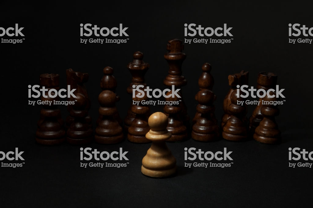 Chess White Pawn And Black Figures On Black Background Stock Photo 1024x681