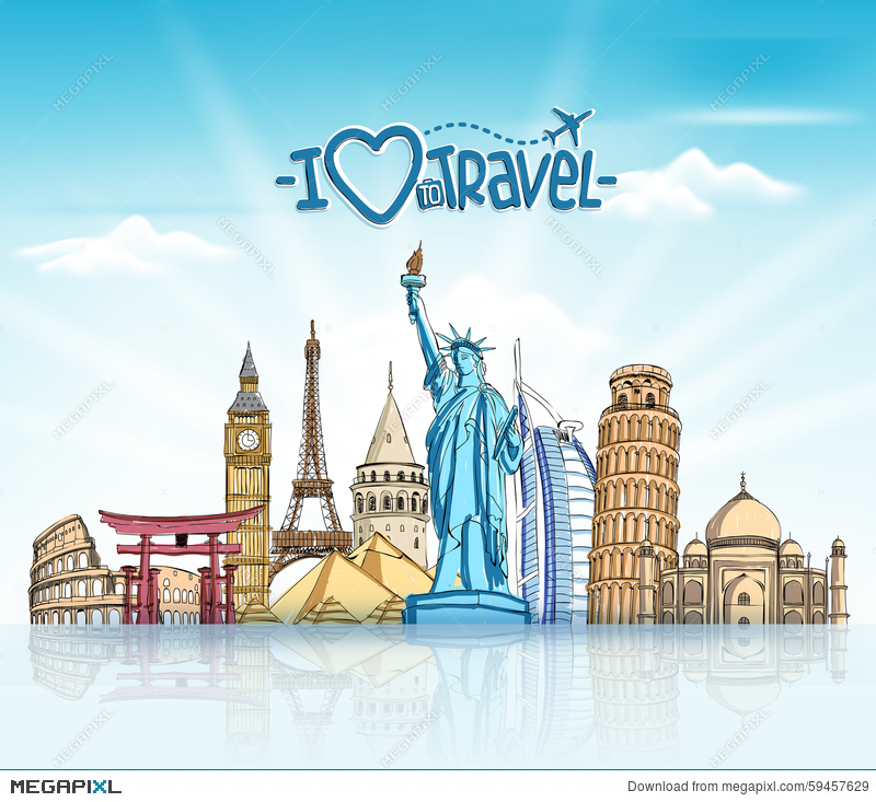 Travel And Tourism Background With Famous World Landmarks 800x733