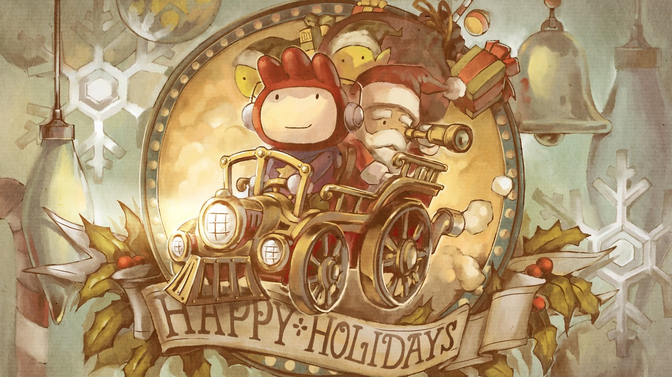 Santa and elves on the train   Happy Holiday HD wallpaper 1366x768