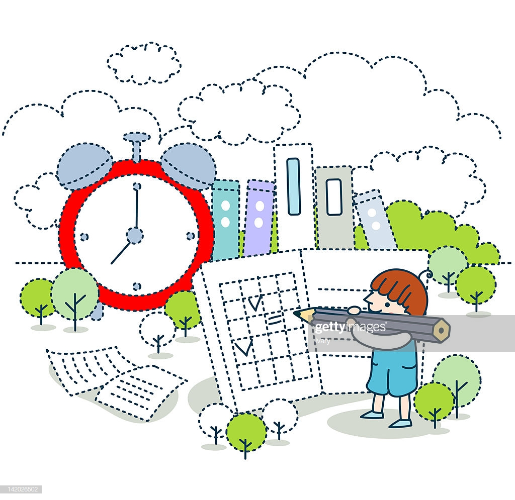 Girl Doing Her Homework With Clock In Background High Res Vector 1024x995