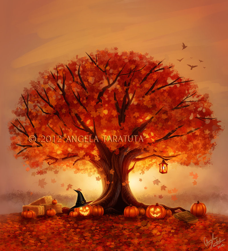 Autumn tree wallpaper wallpapersafari for Autumn tree painting