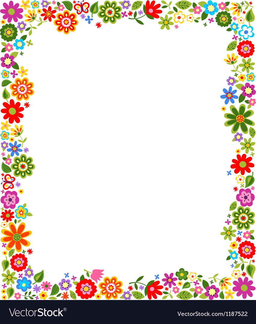 Floral border frame background Royalty Vector Image 851x1080
