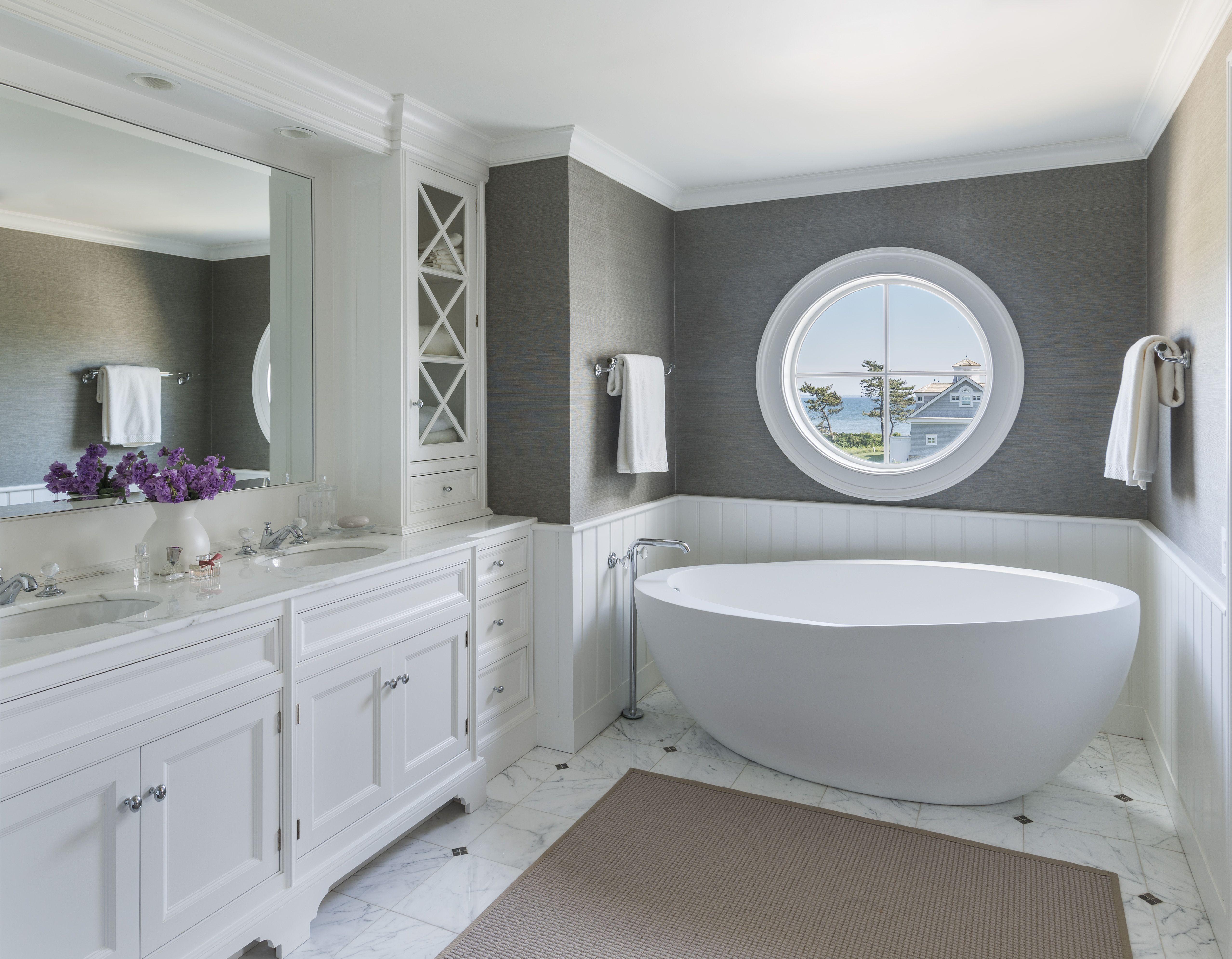 master bathroom standing tub gray grasscloth wallpaper 5114x3981