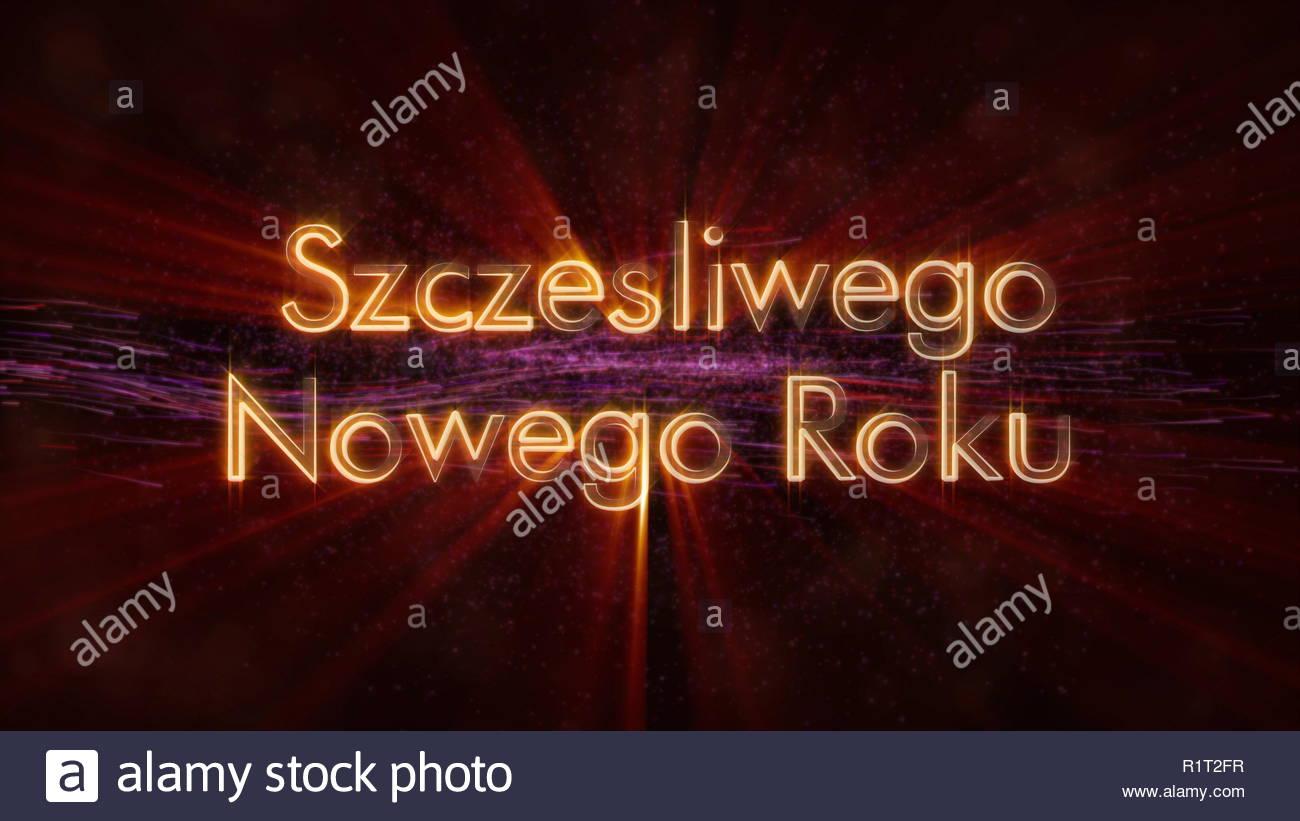 Happy New Year text in Polish Szczesliwego Nowego Roku loop 1300x821