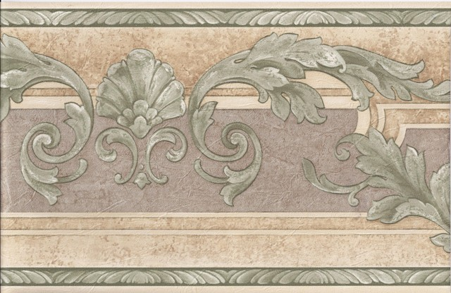 Cream Green Molding Leaves Wallpaper Border   Traditional   Wallpaper 640x416