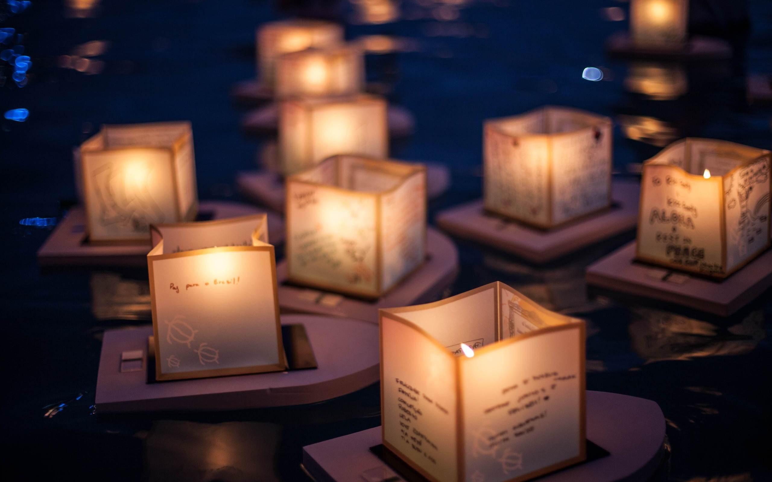 lanterns paper candles lantern festival night wallpaper hd river 2560x1600