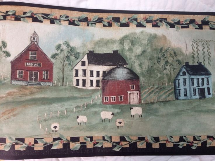 Landscape with Barns Houses and Church Wallpaper Border Wallpaper 736x552