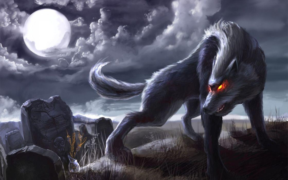Dark fantasy art werewolf cemetery greave tombstone headstone 1120x700
