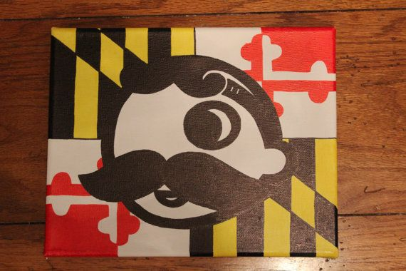 Natty Boh with a Maryland flag background 570x380