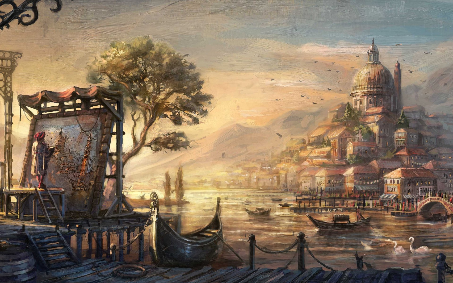 Theme famous painting artist painter brush oil on canvas 1920x1200