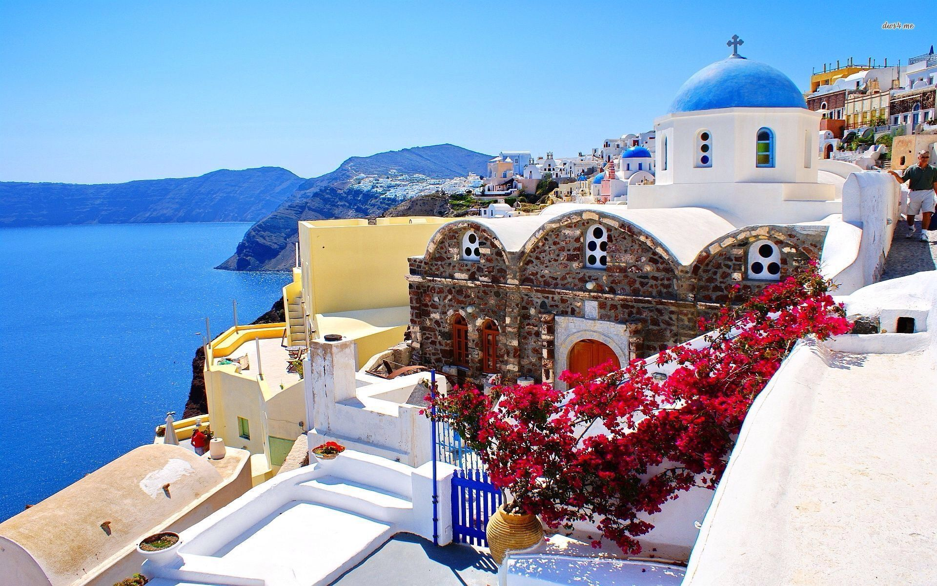 Pin by Karen Miller on Travels Greece wallpaper Santorini 1920x1200