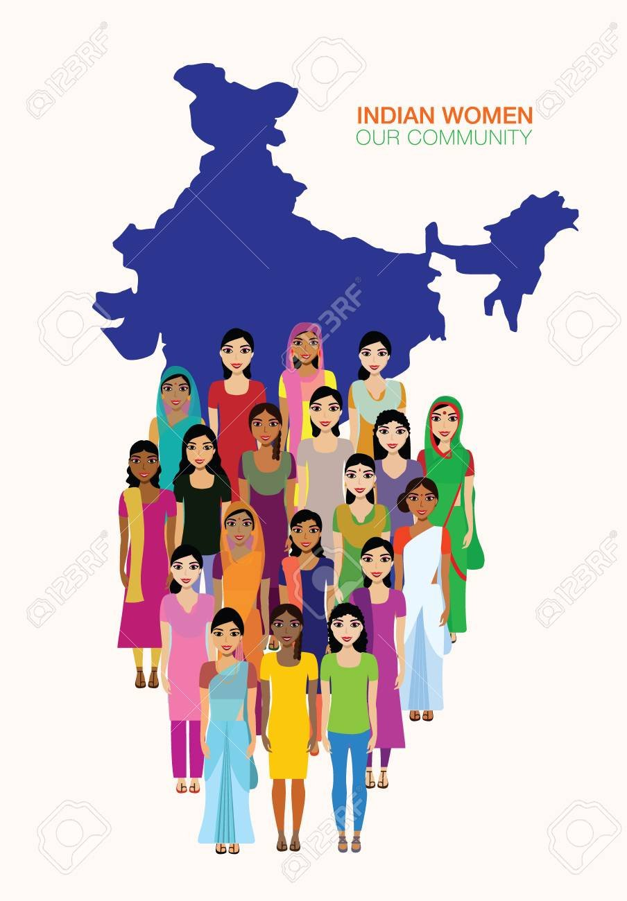 Big Crowd Of Indian Women Vector Avatars On Indian Town Background 904x1300