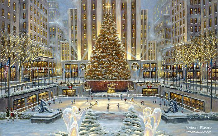 Wallpapers   Christmas in New York Robert Finale Christmas Paintings 700x438