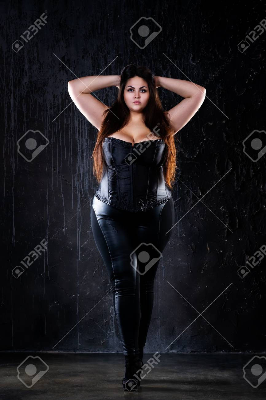 Plus Size Fashion Model In Sexy Clothes Fat Woman On Black 866x1300