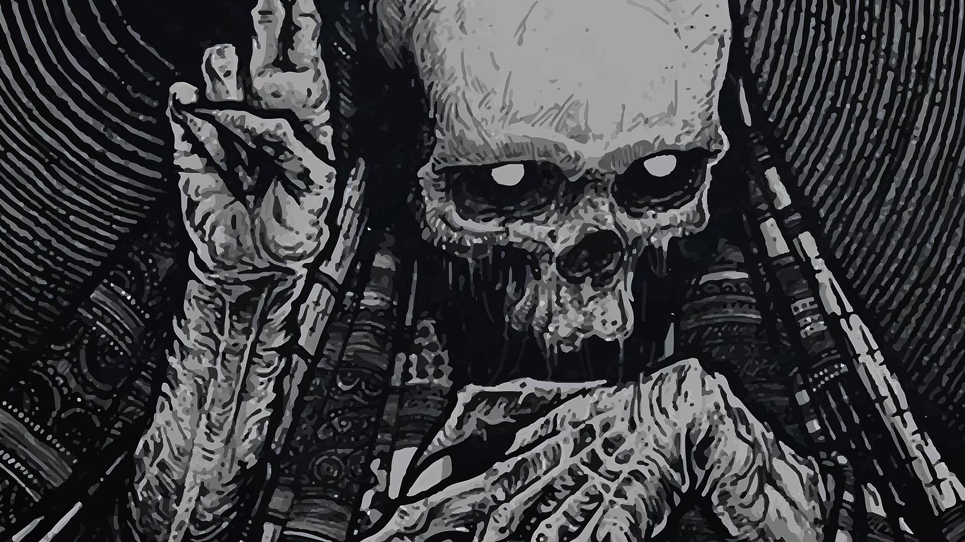 skeleton skull occult horror creepy spooky scary halloween wallpaper