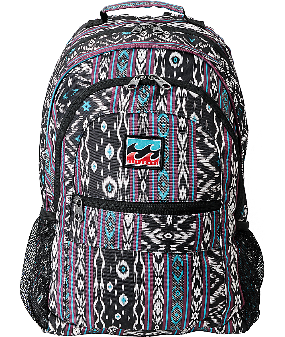 Billabong Background Black Purple Tribal Print Backpack Zumiez 1000x1184