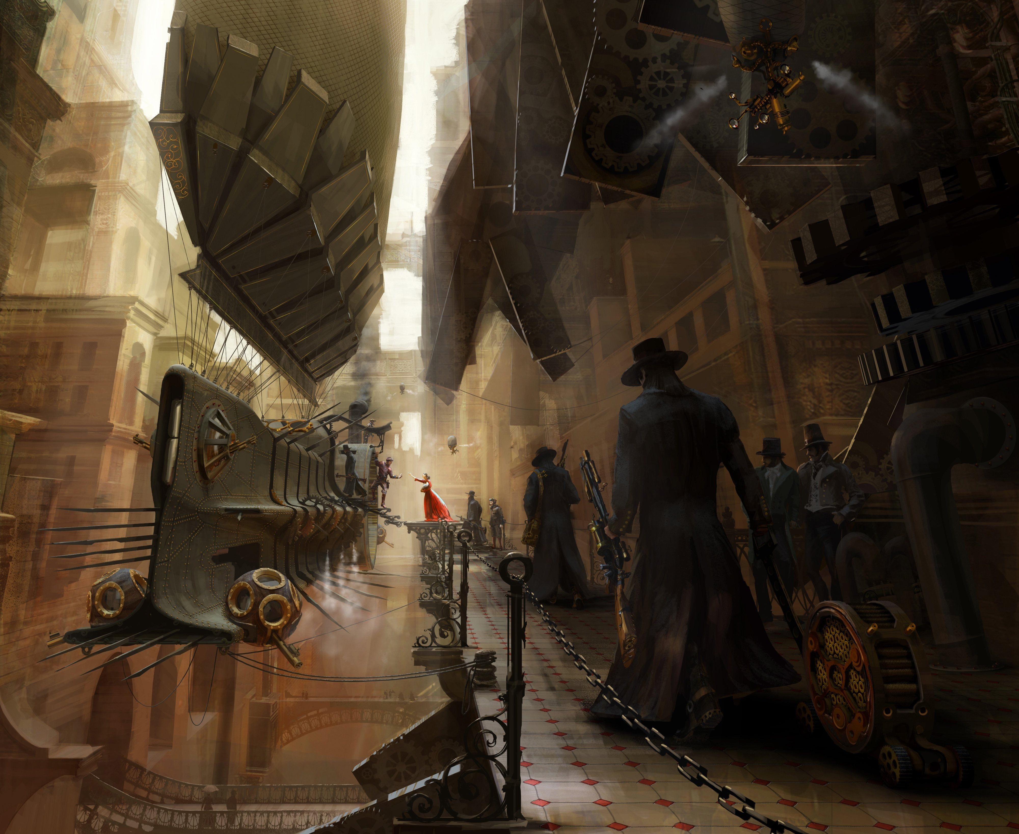 Wallpaper drawing steampunk airship wallpapers fantasy   download 4000x3273
