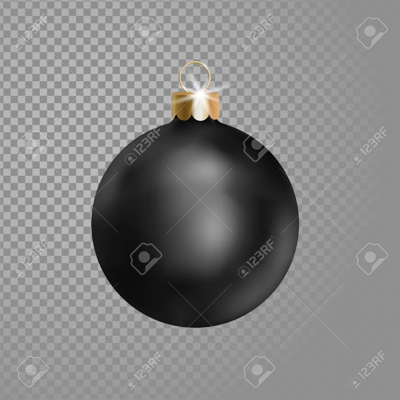 Matted Black Christmas Ball Tree Decoration 3d Realistic Isolated 1300x1300