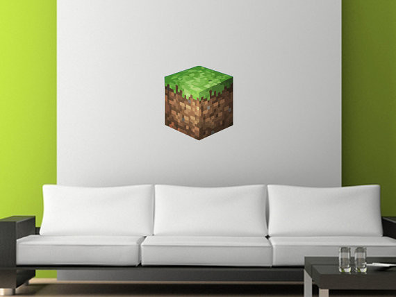 Minecraft Bedroom Ideas In Real Life Minecraft grass block wall 570x428
