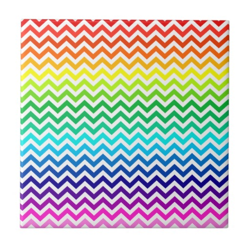 Chevron Zig Zag Pattern in Bright Rainbow Colours Small Square Tile 512x512