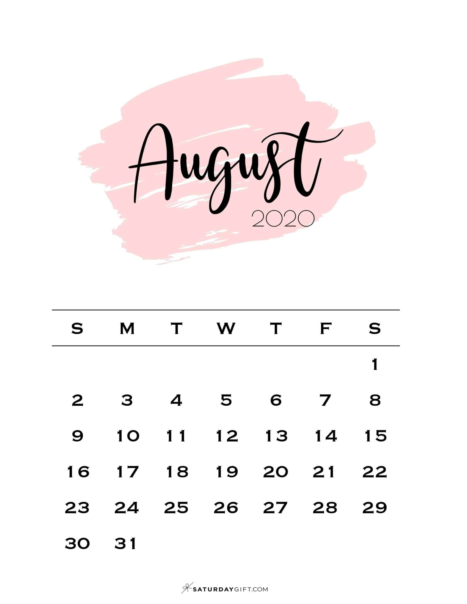 Cute Printable August 2021 Calendar SaturdayGift 1978x2560