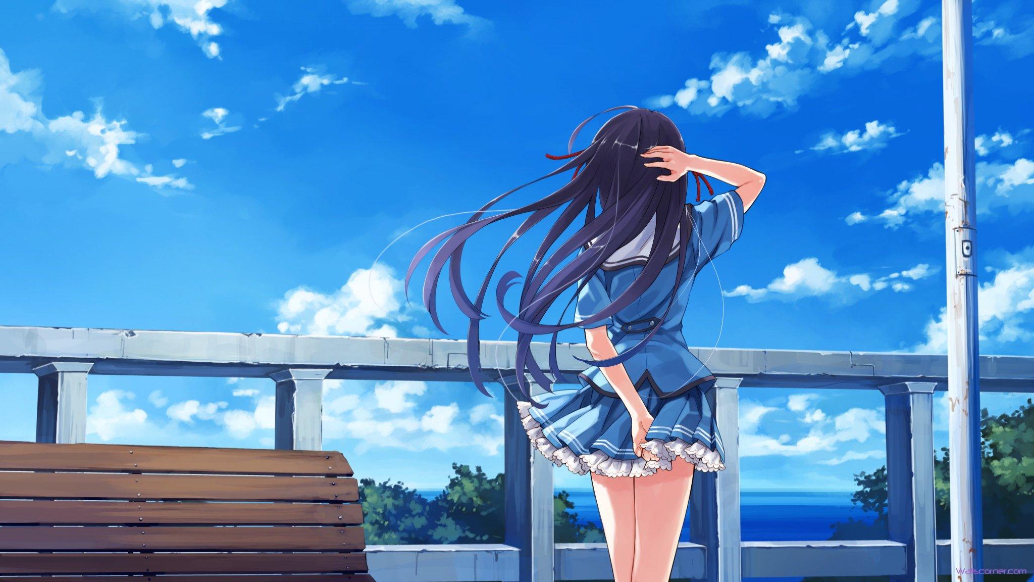 Anime Girl With Headphones And Black Hair