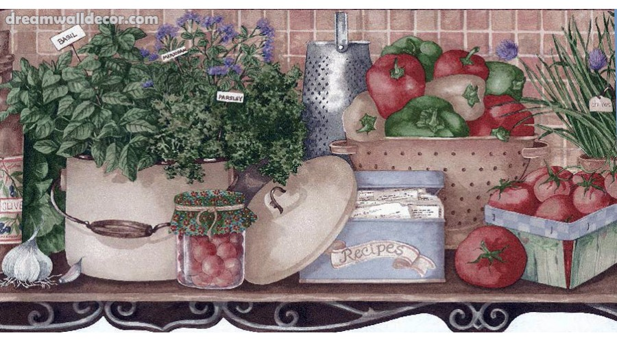Home Fresh Vegetable Recipes Wallpaper Border 900x500