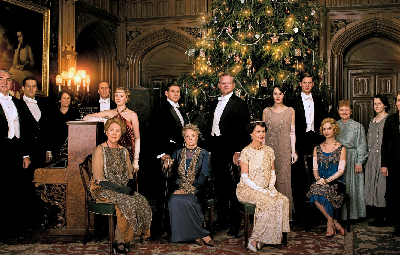 Wallpaper Christmas the series actors characters Downton Abbey 1332x850